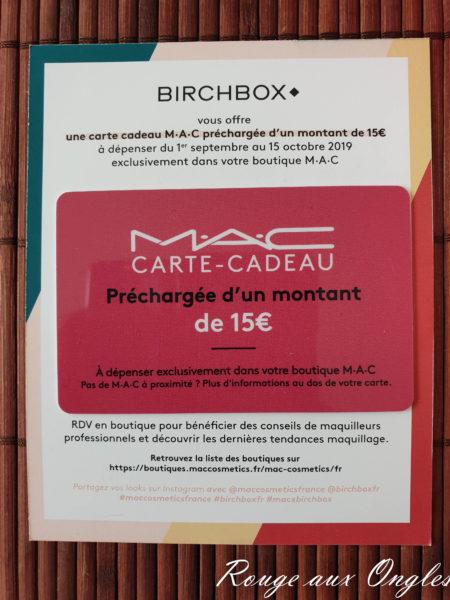 La BirchBox de septembre 2019 - Rouge aux Ongles